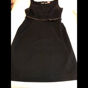 Dress Black Straight Belted Sleeveless